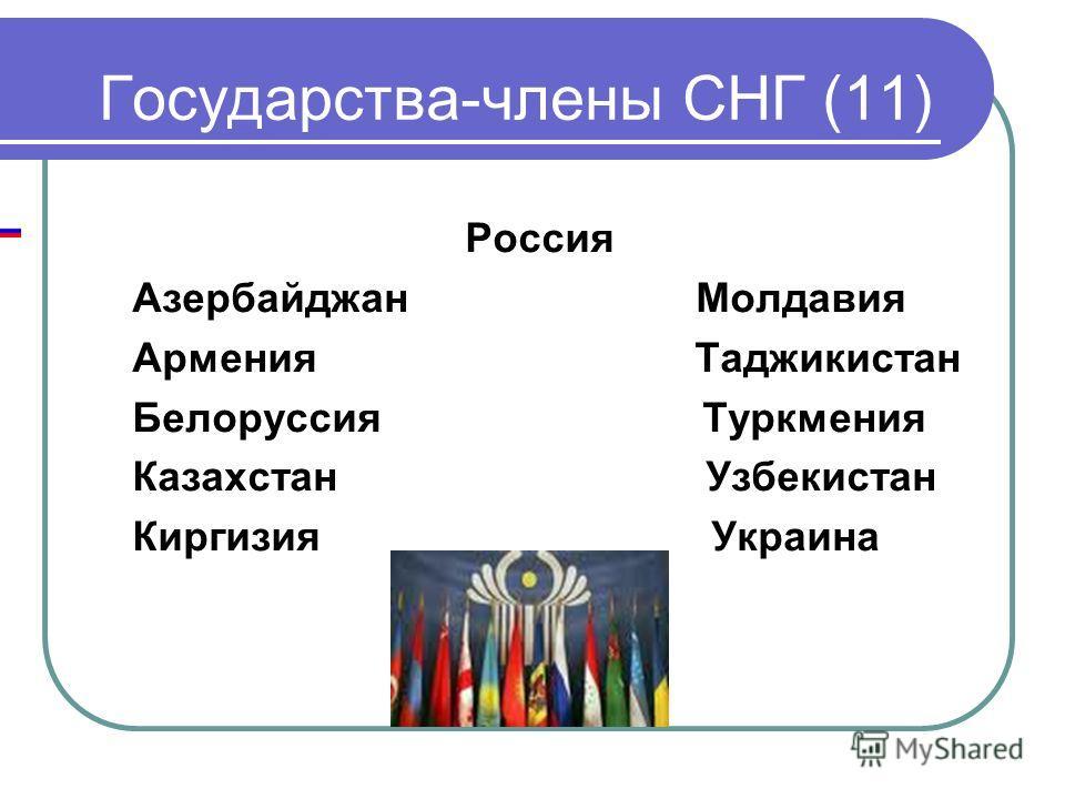 Государства-члены СНГ (11) Россия Азербайджан Молдавия Армения Таджикистан Белоруссия Туркмения Казахстан Узбекистан Киргизия Украина