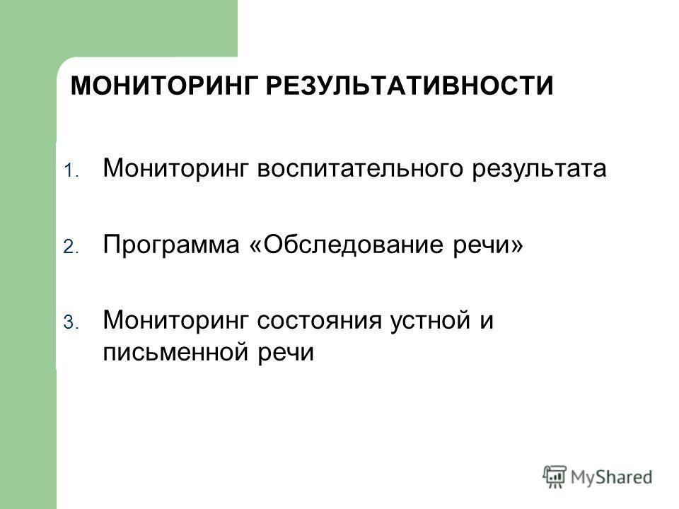 МОНИТОРИНГ РЕЗУЛЬТАТИВНОСТИ 1. Мониторинг воспитательного результата 2. Программа «Обследование речи» 3. Мониторинг состояния устной и письменной речи