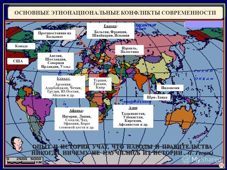ОСНОВНЫЕ ЭТНОНАЦИОНАЛЬНЫЕ КОНФЛИКТЫ СОВРЕМЕННОСТИ Турция, Греция, Кипр Противостояние на Балканах Шри-Ланка Англия, Шотландия, Северная Ирландия, Уэльс Африка: Нигерия, Ливия, Сомали, Чад, Эфиопия, Берег слоновой кости и др. Израиль, Палестина Индоне
