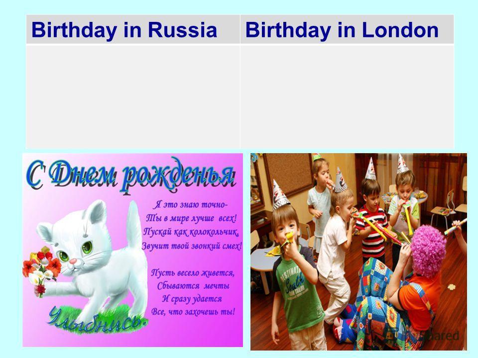 Birthday in RussiaBirthday in London