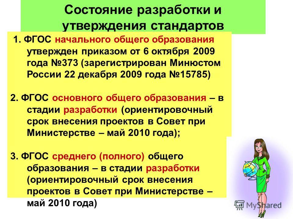 13 Состояние разработки и утверждения стандартов 1. ФГОС начального общего образования утвержден приказом от 6 октября 2009 года 373 (зарегистрирован Минюстом России 22 декабря 2009 года 15785) 2. ФГОС основного общего образования – в стадии разработ