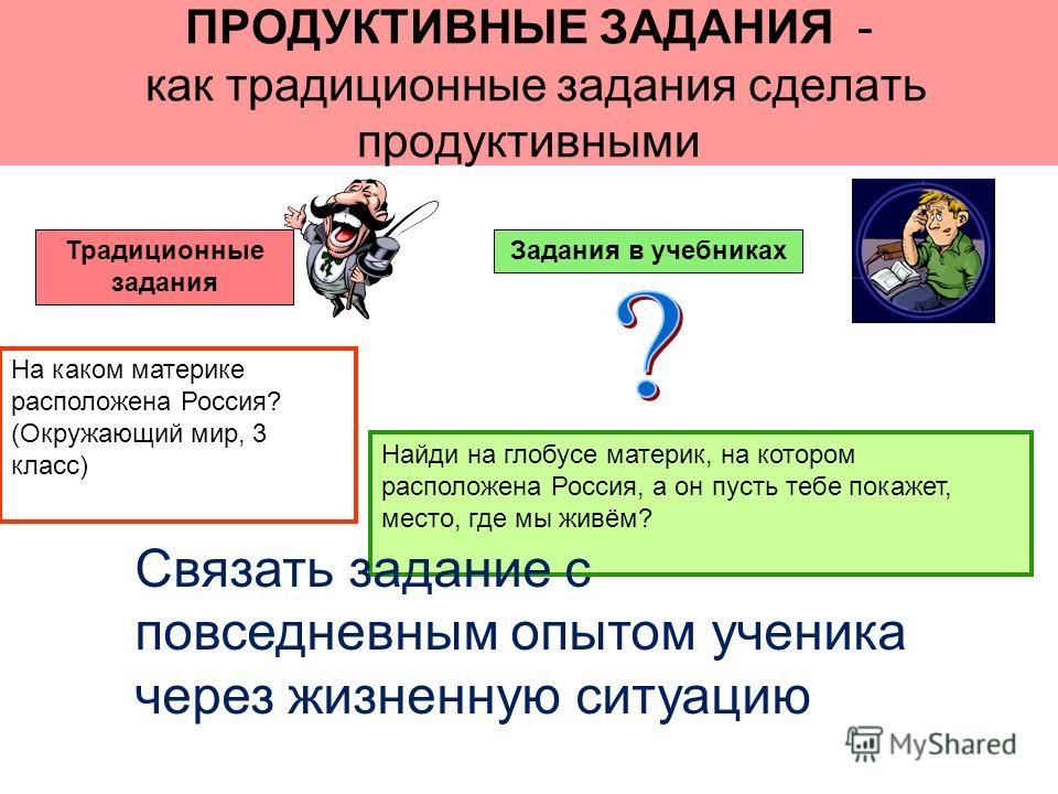 ПРОДУКТИВНЫЕ ЗАДАНИЯ - как традиционные задания сделать продуктивными Традиционные задания Задания в учебниках Найди на глобусе материк, на котором расположена Россия, а он пусть тебе покажет, место, где мы живём? На каком материке расположена Россия