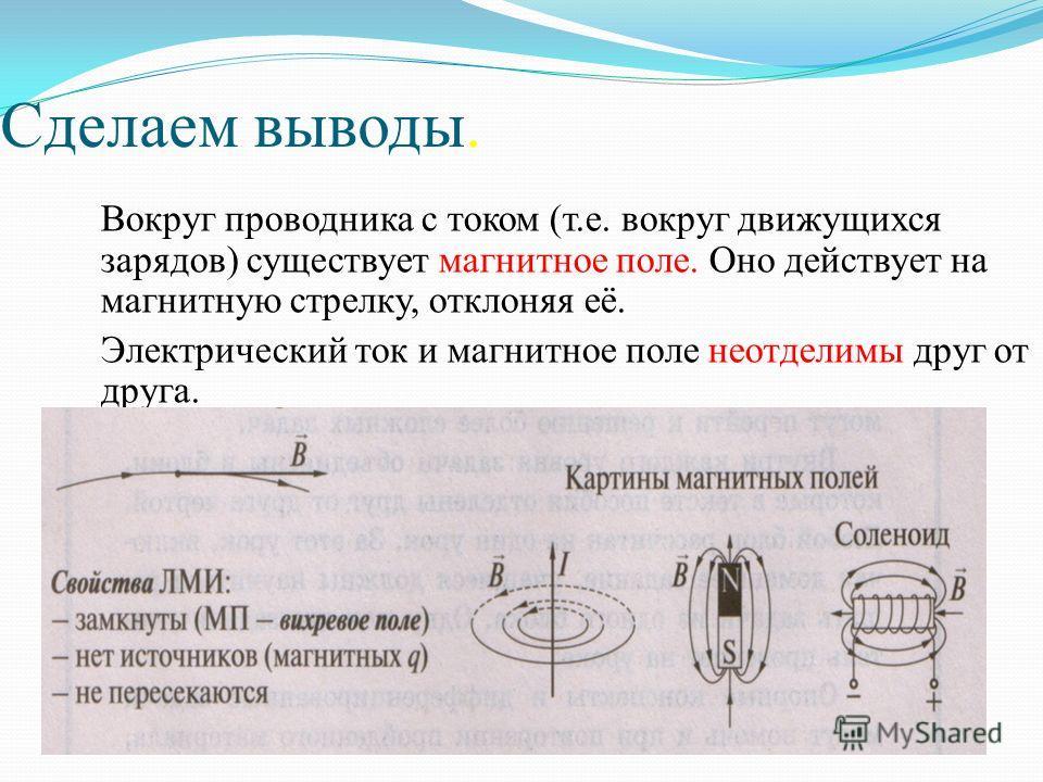 Сделаем выводы. Вокруг проводника с током (т.е. вокруг движущихся зарядов) существует магнитное поле. Оно действует на магнитную стрелку, отклоняя её. Электрический ток и магнитное поле неотделимы друг от друга.
