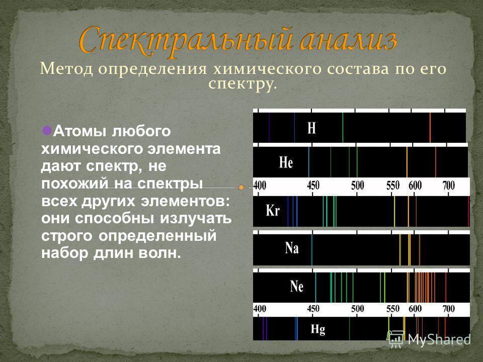 Метод определения химического состава по его спектру. Атомы любого химического элемента дают спектр, не похожий на спектры всех других элементов: они способны излучать строго определенный набор длин волн.