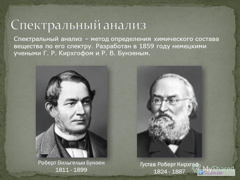 Густав Роберт Кирхгоф 1824 - 1887 Роберт Вильгельм Бунзен 1811 - 1899 Uchim.net Спектральный анализ – метод определения химического состава вещества по его спектру. Разработан в 1859 году немецкими учеными Г. Р. Кирхгофом и Р. В. Бунзеным.
