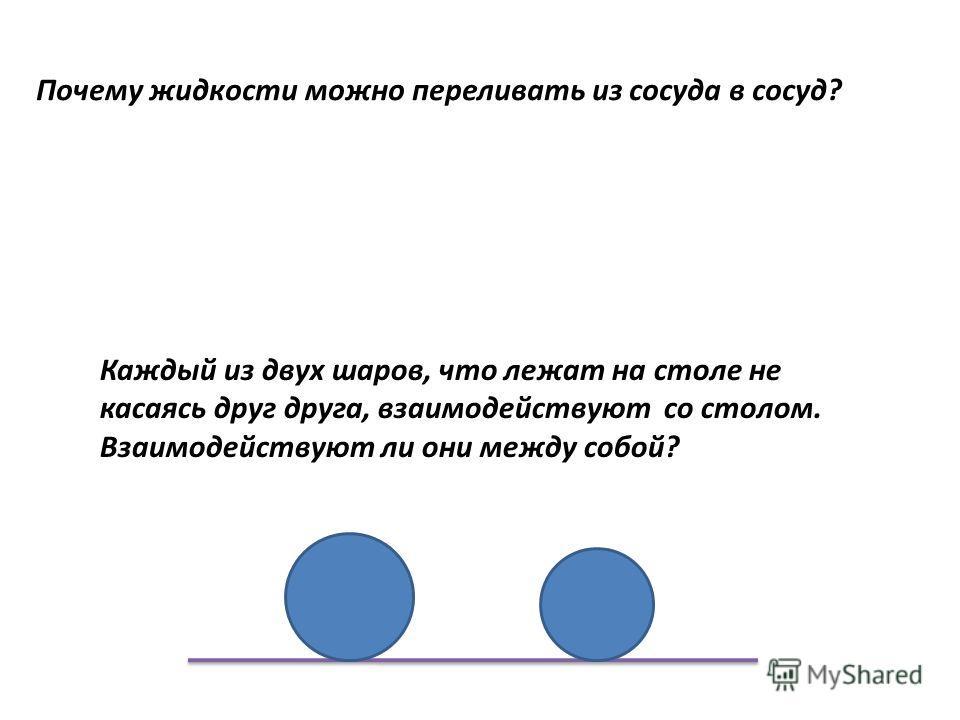 Почему жидкости можно переливать из сосуда в сосуд? Каждый из двух шаров, что лежат на столе не касаясь друг друга, взаимодействуют со столом. Взаимодействуют ли они между собой?