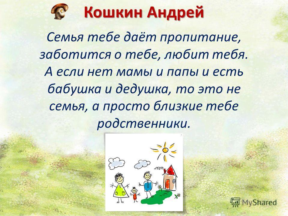 Кошкин Андрей Семья тебе даёт пропитание, заботится о тебе, любит тебя. А если нет мамы и папы и есть бабушка и дедушка, то это не семья, а просто близкие тебе родственники.