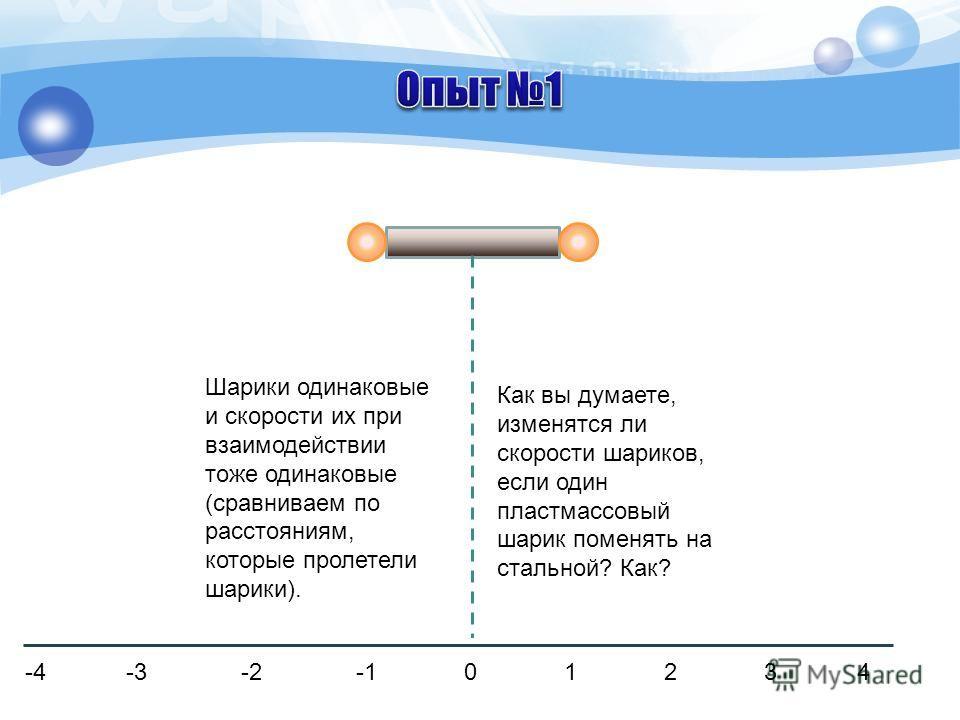 Шарики одинаковые и скорости их при взаимодействии тоже одинаковые (сравниваем по расстояниям, которые пролетели шарики). -4 -3 -2 -1 0 1 2 3 4 Как вы думаете, изменятся ли скорости шариков, если один пластмассовый шарик поменять на стальной? Как?