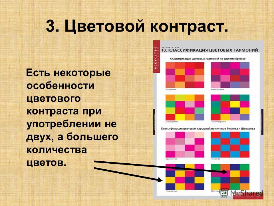 3. Цветовой контраст. Есть некоторые особенности цветового контраста при употреблении не двух, а большего количества цветов.
