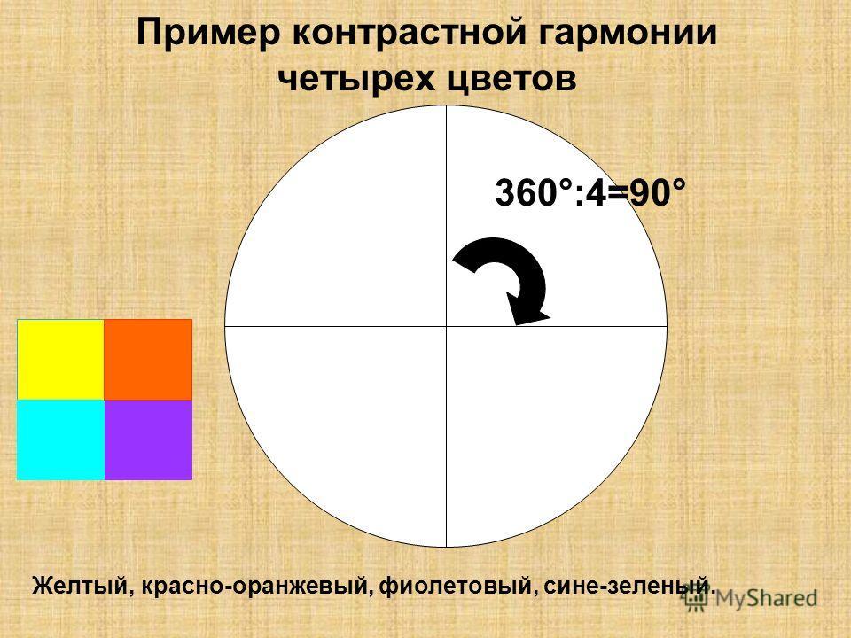 Пример контрастной гармонии четырех цветов 360°:4=90° Желтый, красно-оранжевый, фиолетовый, сине-зеленый.