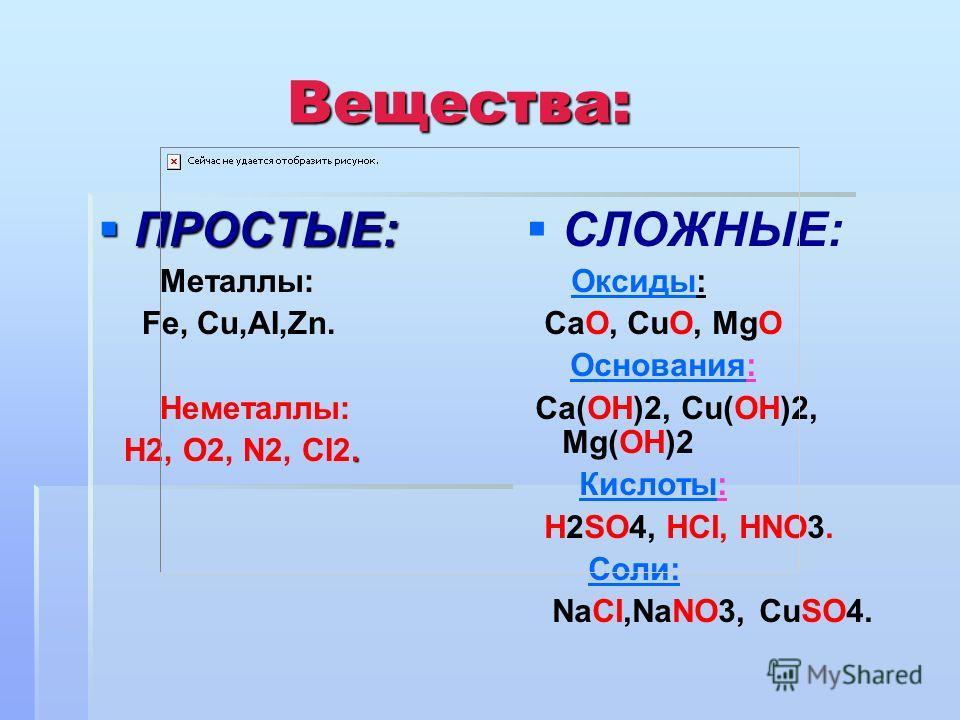 Вещества: ПРОСТЫЕ: ПРОСТЫЕ: Металлы: Fe, Cu,AI,Zn. Неметаллы:. H2, О2, N2, CI2. СЛОЖНЫЕ: Оксиды:Оксиды СаО, СuO, MgO Основания:Основания Са(ОН)2, Сu(ОН)2, Mg(ОН)2 Кислоты:Кислоты Н2SO4, НCI, НNO3. Соли: NaCI,NaNO3, CuSO4.