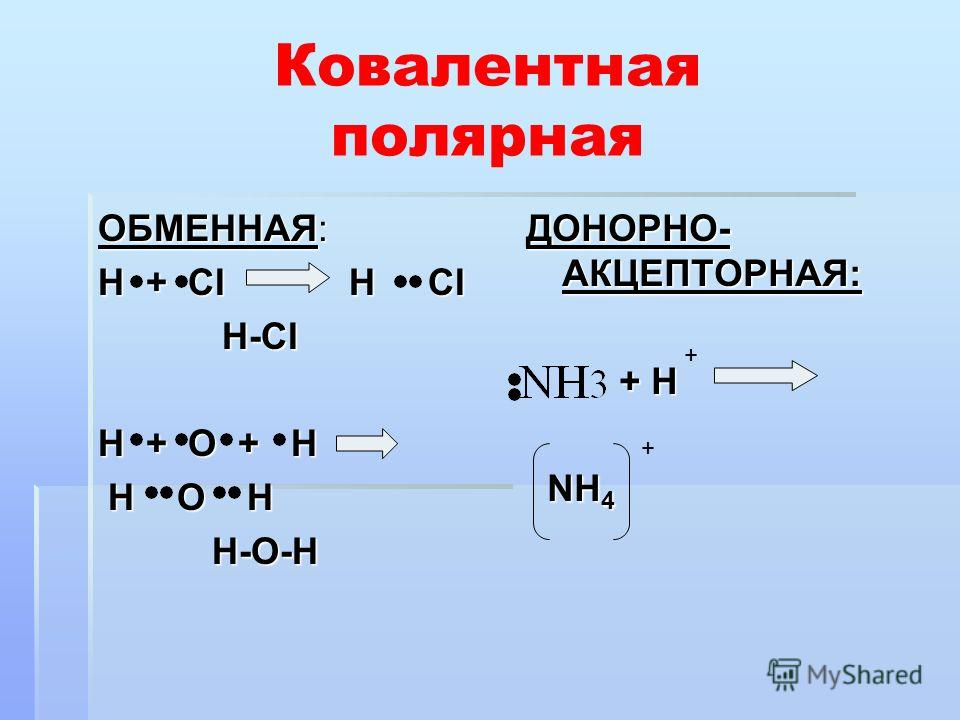 Ковалентная полярная ОБМЕННАЯ: Н + СI Н СI H-CI H-CI H + O + H H O H H O H H-O-H H-O-H ДОНОРНО- АКЦЕПТОРНАЯ: + H + H NH 4 NH 4 + +