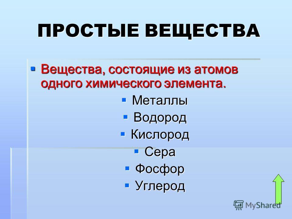 ПРОСТЫЕ ВЕЩЕСТВА Вещества, состоящие из атомов одного химического элемента. Вещества, состоящие из атомов одного химического элемента. Металлы Металлы Водород Водород Кислород Кислород Сера Сера Фосфор Фосфор Углерод Углерод