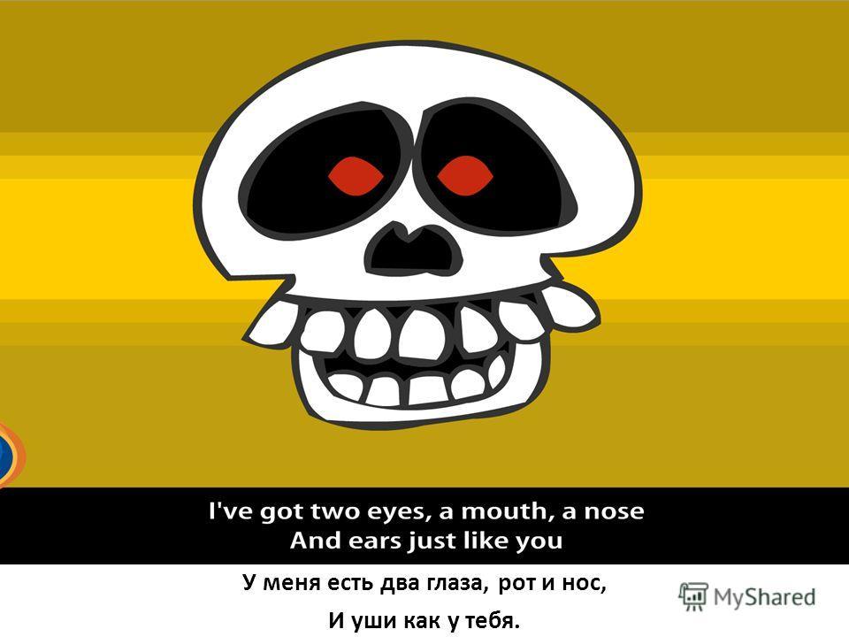 У меня есть два глаза, рот и нос, И уши как у тебя.