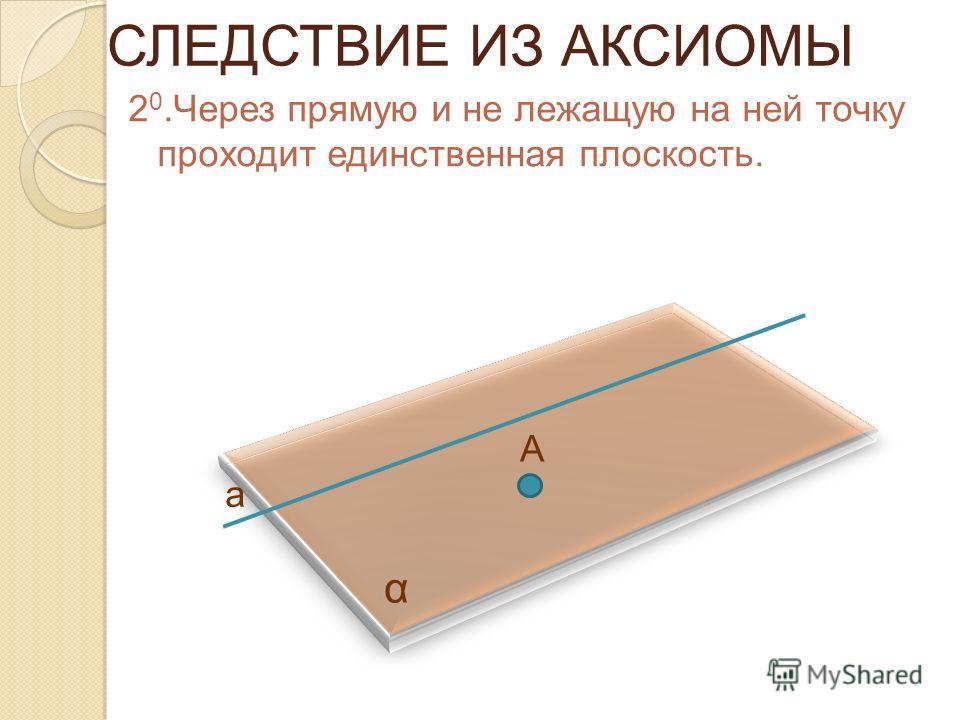 СЛЕДСТВИЕ ИЗ АКСИОМЫ 2 0.Через прямую и не лежащую на ней точку проходит единственная плоскость. α А а