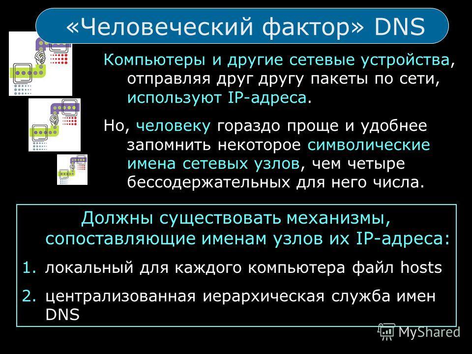 «Человеческий фактор» DNS Компьютеры и другие сетевые устройства, отправляя друг другу пакеты по сети, используют IP-адреса. Но, человеку гораздо проще и удобнее запомнить некоторое символические имена сетевых узлов, чем четыре бессодержательных для