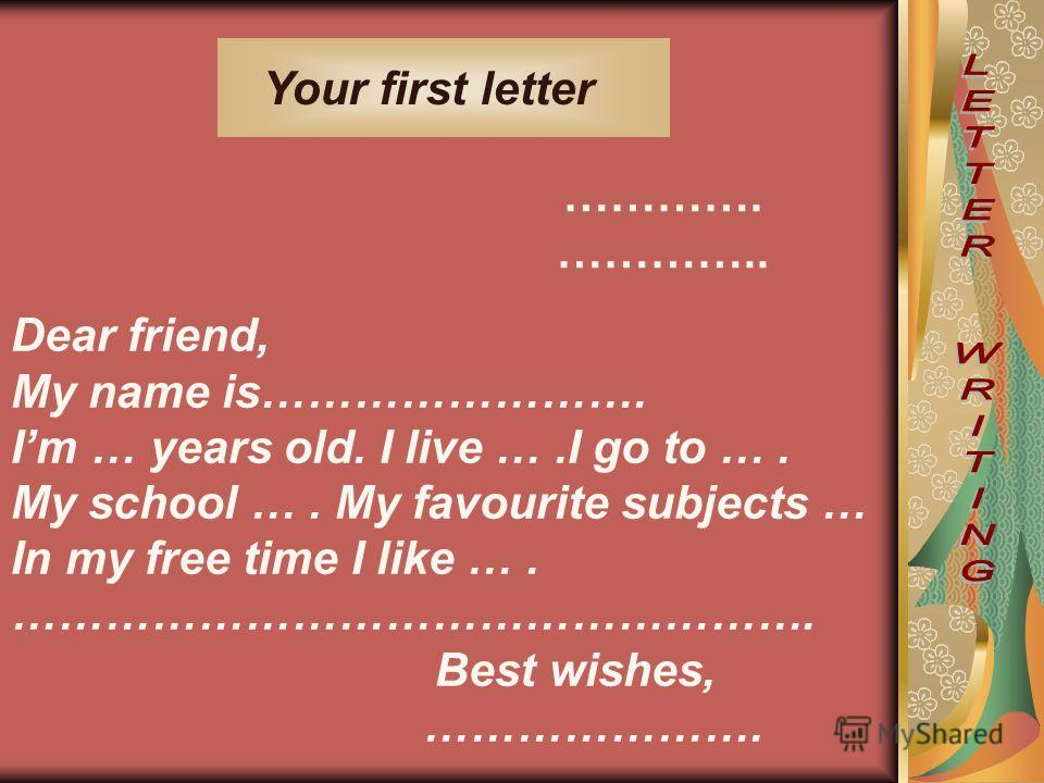 Your first letter Dear friend, My name is……………………. Im … years old. I live ….I go to …. My school …. My favourite subjects … In my free time I like …. ……………………………………………. Best wishes, …………………. …………. …………..