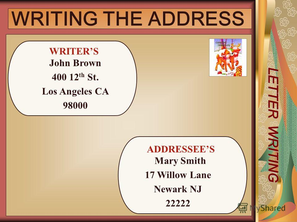 WRITING THE ADDRESS ADDRESSEES Mary Smith 17 Willow Lane Newark NJ 22222 WRITERS John Brown 400 12 th St. Los Angeles CA 98000