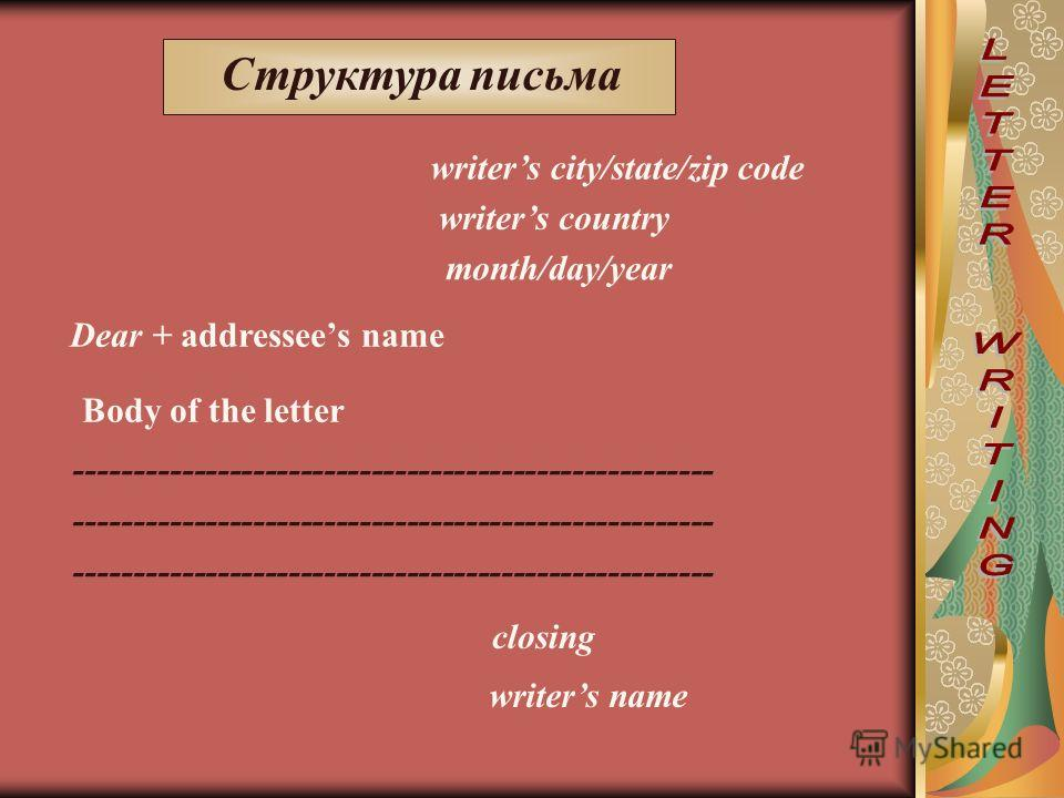 Структура письма writers city/state/zip code writers country month/day/year Dear + addressees name Body of the letter ------------------------------------------------------ closing writers name