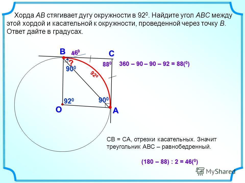 Хорда AB стягивает дугу окружности в 92 0. Найдите угол ABC между этой хордой и касательной к окружности, проведенной через точку B. Ответ дайте в градусах. C B O A 90 0 (180 –88) : 2= 46( 0 ) (180 – 88) : 2 = 46( 0 ) 92 0 360 –90 –90 –92= 88( 0 ) 36