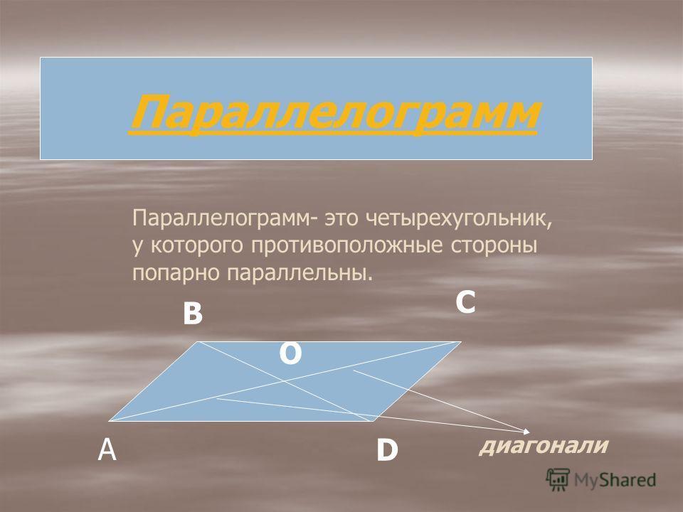 Четырехугольник отличается от других многоугольников тем, что он имеет четыре вершины, четыре стороны и две диагонали.