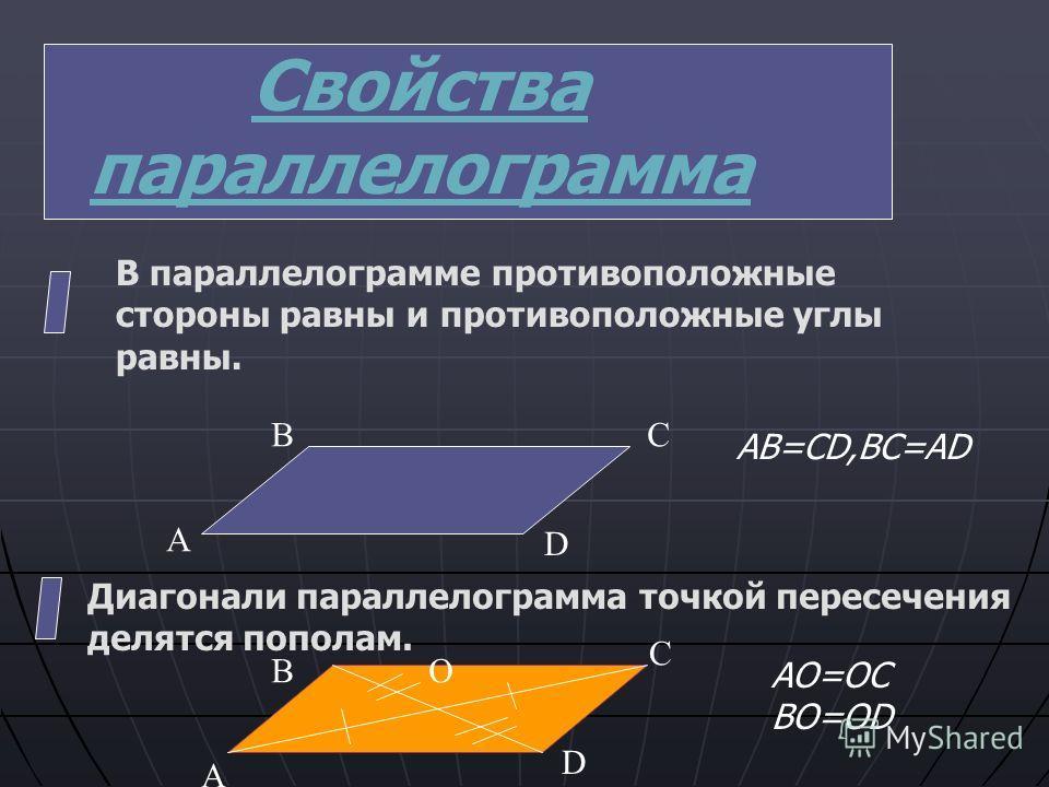 Признаки параллелограмма. Если в четырехугольнике две стороны равны и параллельны,то этот четырехугольник- параллелограмм. Если в четырехугольнике противоположные стороны попарно равны,то этот четырехугольник- параллелограмм. Если в четырехугольнике