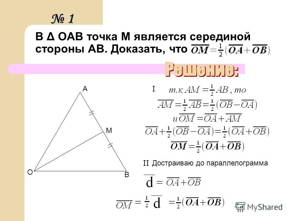 В Δ OAB точка М является серединой стороны АВ. Доказать, что О В А М Достраиваю до параллелограмма Ι ΙΙ 1