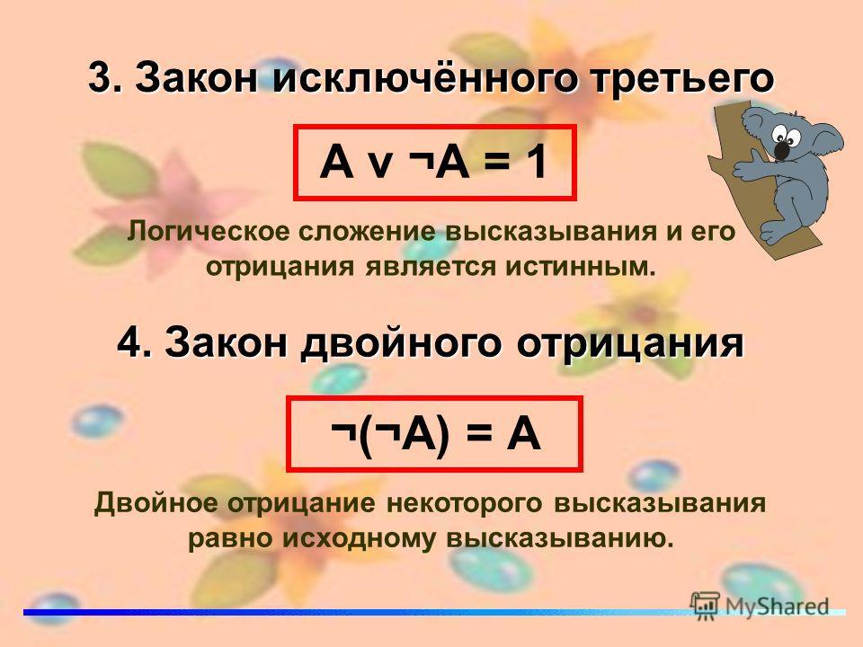 3. Закон исключённого третьего А v ¬А = 1 Логическое сложение высказывания и его отрицания является истинным. 4. Закон двойного отрицания ¬(¬А) = А Двойное отрицание некоторого высказывания равно исходному высказыванию.