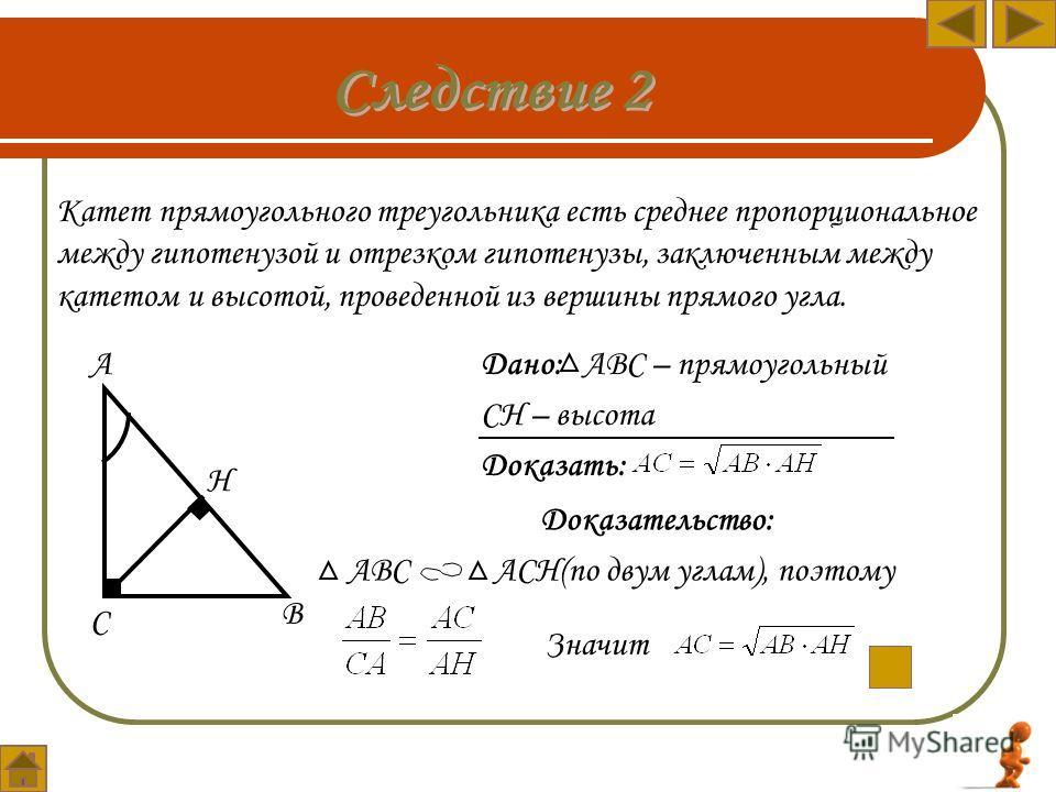 Дано: АВС – прямоугольный СН – высота Доказать: Высота прямоугольного треугольника, проведенная из вершины прямого угла, есть среднее пропорциональное между отрезками, на которые делится гипотенуза этой высотой. С Н А В Доказательство: АНС СВН, поэто