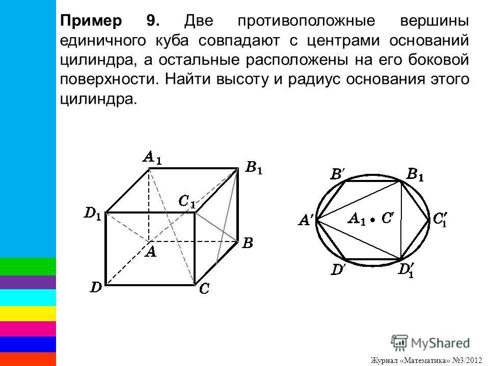 Журнал «Математика» 3/2012 Пример 9. Две противоположные вершины единичного куба совпадают с центрами оснований цилиндра, а остальные расположены на его боковой поверхности. Найти высоту и радиус основания этого цилиндра.