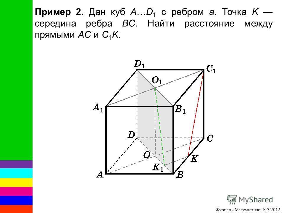 Журнал «Математика» 3/2012 Пример 2. Дан куб A…D 1 с ребром a. Точка K середина ребра BC. Найти расстояние между прямыми AC и C 1 K.