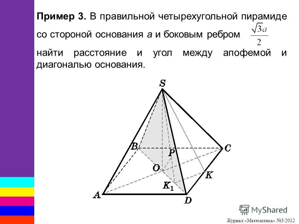Журнал «Математика» 3/2012 Пример 3. В правильной четырехугольной пирамиде со стороной основания a и боковым ребром найти расстояние и угол между апофемой и диагональю основания.
