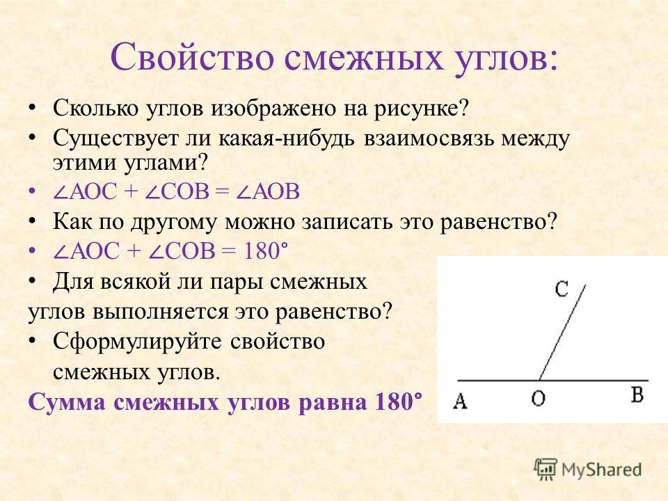 Свойство смежных углов: Сколько углов изображено на рисунке? Существует ли какая-нибудь взаимосвязь между этими углами? АОС + СОВ = АОВ Как по другому можно записать это равенство? АОС + СОВ = 180 ° Для всякой ли пары смежных углов выполняется это ра