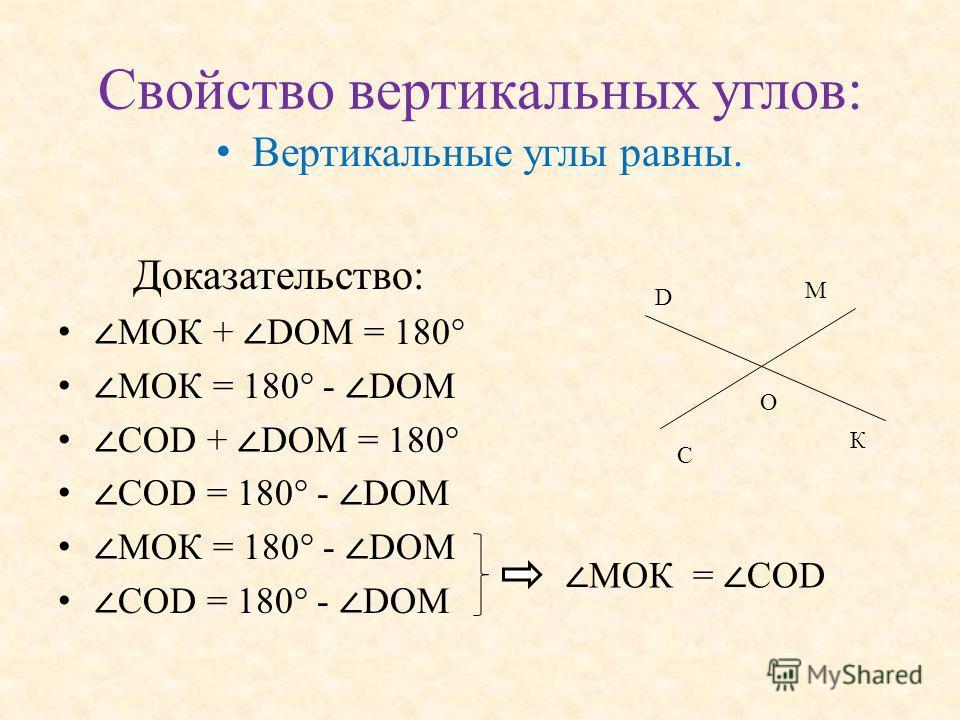 Свойство вертикальных углов: Вертикальные углы равны. Доказательство: МОК + DОМ = 180° МОК = 180° - DОМ СОD + DOM = 180° СОD = 180° - DOM МОК = 180° - DОМ СОD = 180° - DOM М О К D C МОК = COD