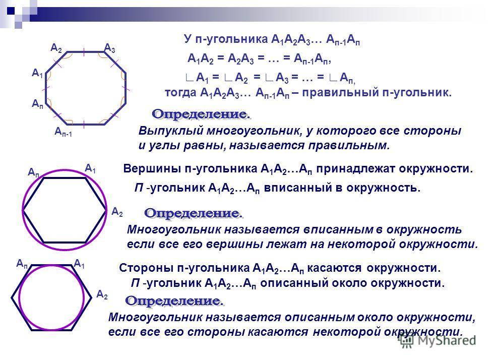 А1А1 А2А2 А3А3 АпАп А п-1 У п-угольника А 1 А 2 А 3 … А п-1 А п А 1 А 2 = А 2 А 3 = … = А п-1 А п, А 1 = А 2 = А 3 = … = А п, тогда А 1 А 2 А 3 … А п-1 А п – правильный п-угольник. Выпуклый многоугольник, у которого все стороны и углы равны, называет