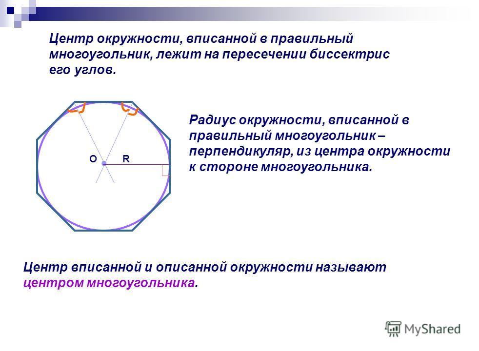 Центр окружности, вписанной в правильный многоугольник, лежит на пересечении биссектрис его углов. RО Радиус окружности, вписанной в правильный многоугольник – перпендикуляр, из центра окружности к стороне многоугольника. Центр вписанной и описанной