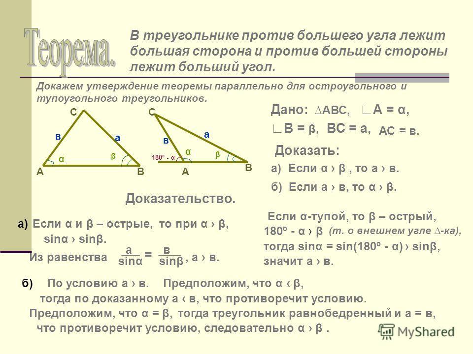 В треугольнике против большего угла лежит большая сторона и против большей стороны лежит больший угол. Докажем утверждение теоремы параллельно для остроугольного и тупоугольного треугольников. А С В α β в а А С В α β в а Дано: АВС, А = α, В = β, ВС =