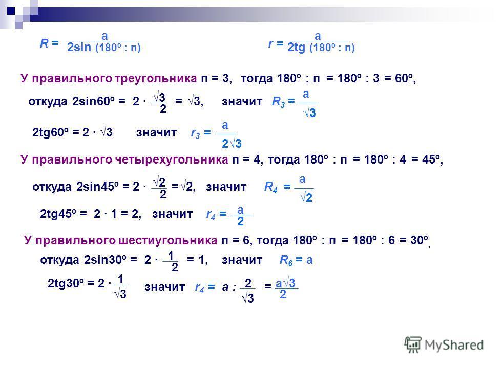 R = R = а 2sin (180º : п) r = а 2tg (180º : п) У правильного треугольника п = 3,тогда 180º : п= 180º : 3= 60º, откуда 2sin60º =2 3 2 =3, R3 = R3 = r3 =r3 = значит а 3 2tg60º =2 3 а 2323 значит У правильного четырехугольника п = 4,тогда 180º : п= 180º