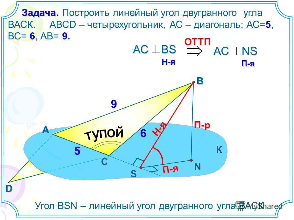 Построить линейный угол двугранного угла ВАСК. АВСD – четырехугольник, АС – диагональ; АС=5, ВС= 6, АВ= 9. А В N П-р Н-я П-я ОTTП АС ВS H-я H-я АС NS П-я П-я Угол ВSN – линейный угол двугранного угла ВАСК К С S D 9 6 5 Задача. Задача.