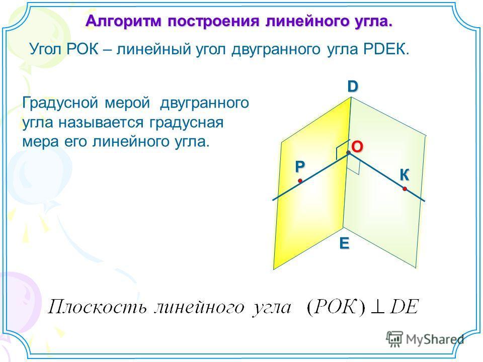 Алгоритм построения линейного угла. Угол РОК – линейный угол двугранного угла РDEК. D EO РК Градусной мерой двугранного угла называется градусная мера его линейного угла.