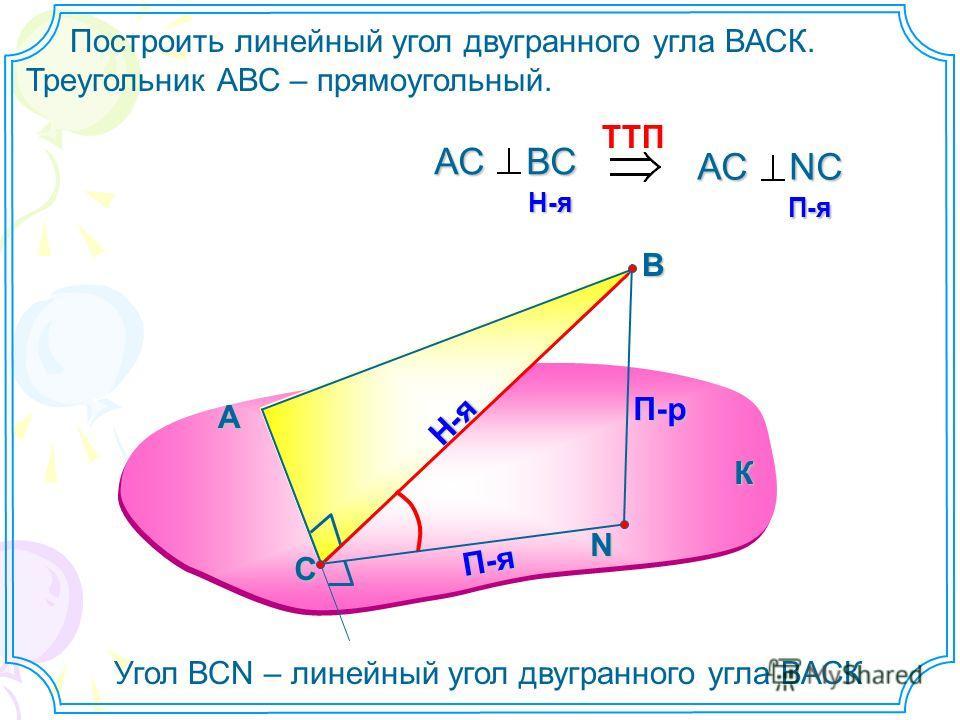 Построить линейный угол двугранного угла ВАСК. Треугольник АВС – прямоугольный. А В N П-р Н-я П-я TTП АС ВС H-я H-я АС NС П-я П-я Угол ВСN – линейный угол двугранного угла ВАСК К С