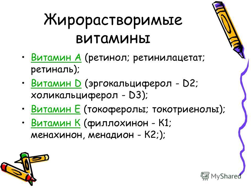 Жирорастворимые витамины Витамин А (ретинол; ретинилацетат; ретиналь);Витамин А Витамин D (эргокальциферол - D2; холикальциферол - D3);Витамин D Витамин Е (токоферолы; токотриенолы);Витамин Е Витамин К (филлохинон - К1; менахинон, менадион - К2;);Вит
