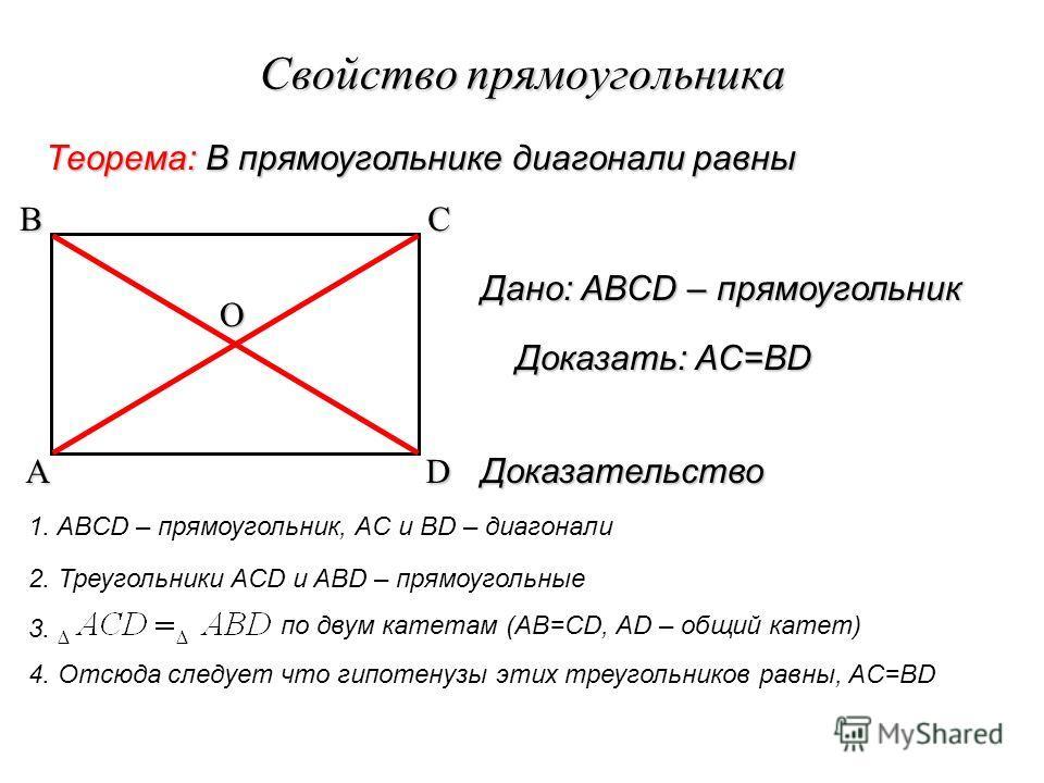 Свойство прямоугольника Теорема: В прямоугольнике диагонали равны Доказательство 1. ABCD – прямоугольник, AC и BD – диагонали 2. Треугольники ACD и ABD – прямоугольные 3. по двум катетам (AB=CD, AD – общий катет) 4. Отсюда следует что гипотенузы этих