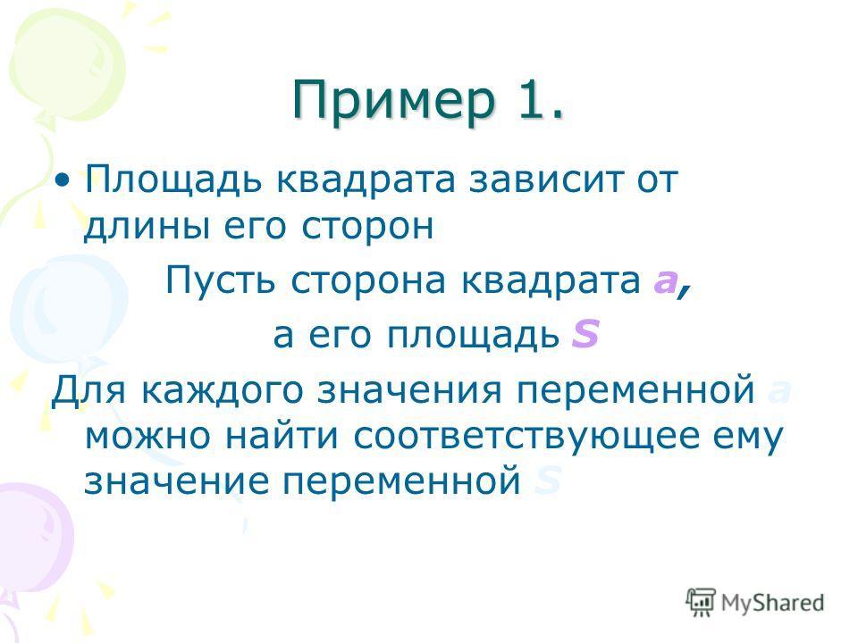 Пример 1. Площадь квадрата зависит от длины его сторон Пусть сторона квадрата а, а его площадь S Для каждого значения переменной а можно найти соответствующее ему значение переменной S