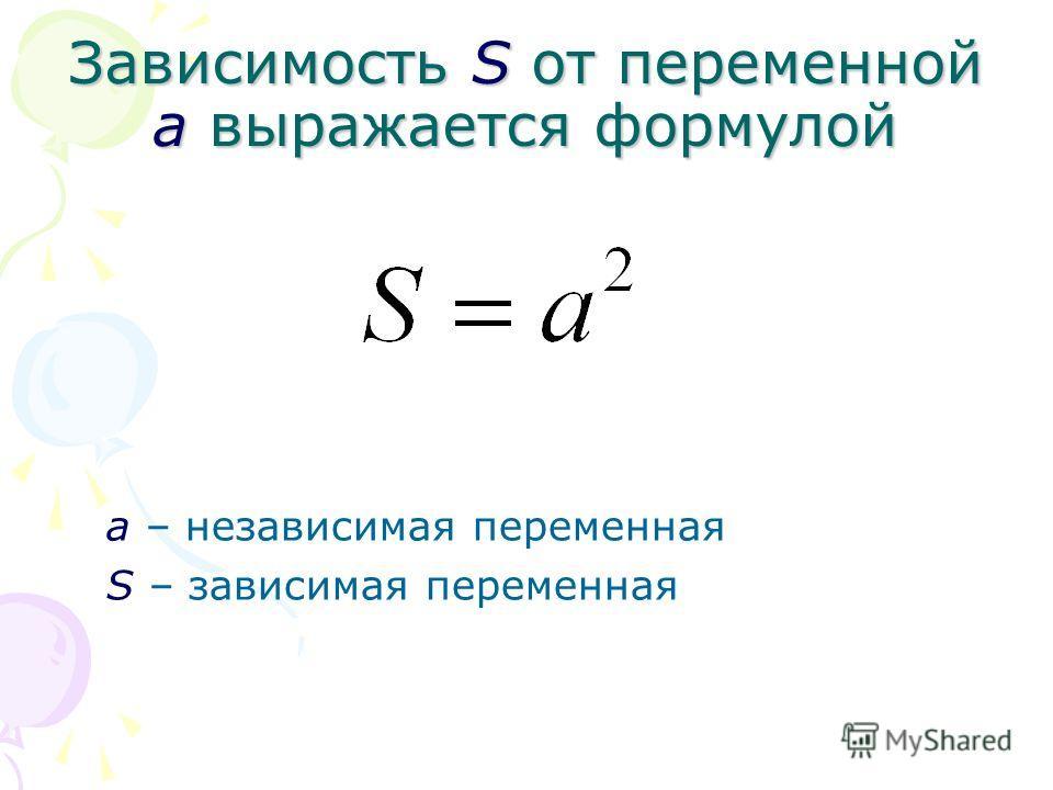 Зависимость S от переменной а выражается формулой а – независимая переменная S – зависимая переменная