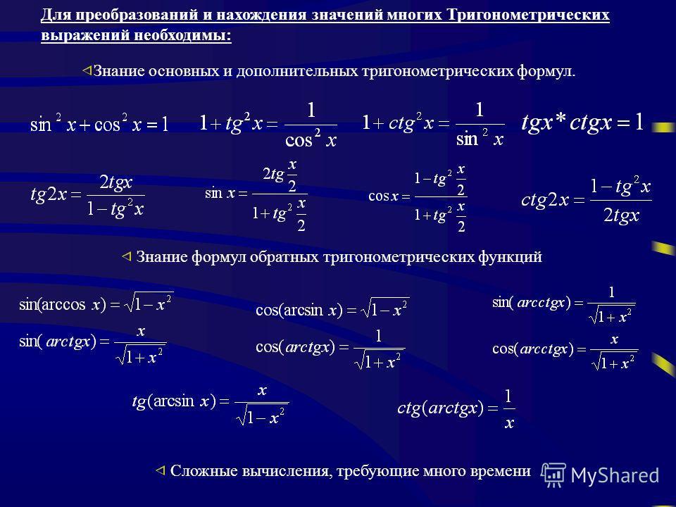 Знание основных и дополнительных тригонометрических формул. Знание формул обратных тригонометрических функций Сложные вычисления, требующие много времени Для преобразований и нахождения значений многих Тригонометрических выражений необходимы: