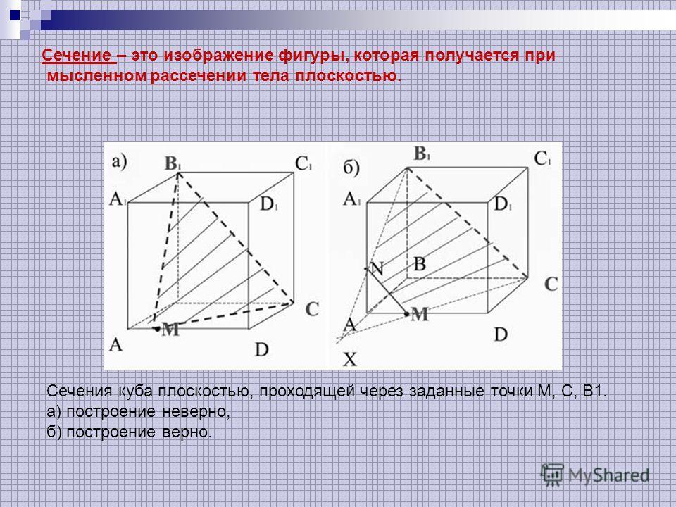 Сечение – это изображение фигуры, которая получается при мысленном рассечении тела плоскостью. Сечения куба плоскостью, проходящей через заданные точки М, C, В1. а) построение неверно, б) построение верно.