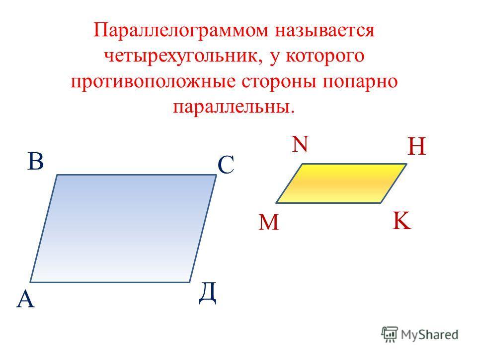 Параллелограммом называется четырехугольник, у которого противоположные стороны попарно параллельны. А В С Д M N H K