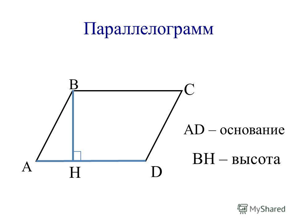 Параллелограмм А В С D АD – основание H BH – высота