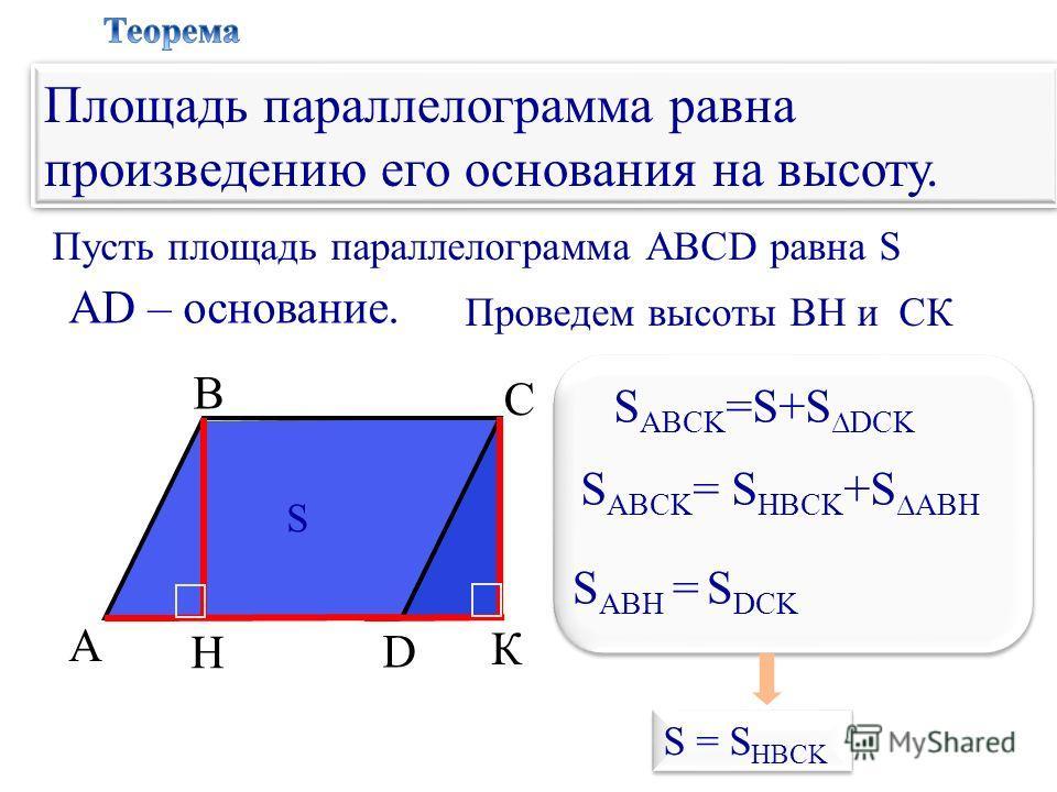 А В С D Пусть площадь параллелограмма АВСD равна S H АD – основание. S Проведем высоты BH и СК К S = S HBCK Площадь параллелограмма равна произведению его основания на высоту. S ABCK =S+S DCK S ABCK = S HBCK +S ABH S ABH = S DCK